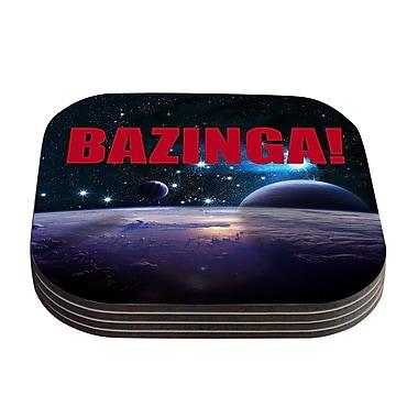 KESS InHouse Bazinga Coaster (Set of 4); Red