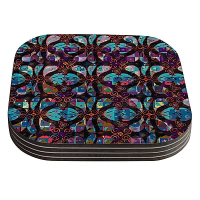 KESS InHouse Pattern by Suzanne Carter Multicolor Abstract Coaster (Set of 4)