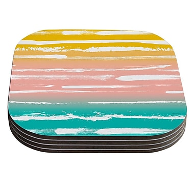 KESS InHouse Painted Stripes by Anneline Sophia Coaster (Set of 4); Peach