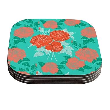 KESS InHouse Summer Rose by Anneline Sophia Coaster (Set of 4); Orange
