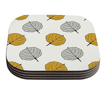 KESS InHouse Leaf by Laurie Baars White Gray Coaster (Set of 4)