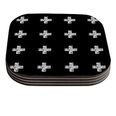 KESS InHouse Swiss Cross by Skye Zambrana Coaster (Set of 4); Black