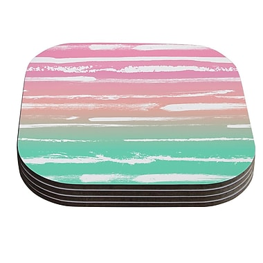 KESS InHouse Painted Stripes by Anneline Sophia Coaster (Set of 4); Pink
