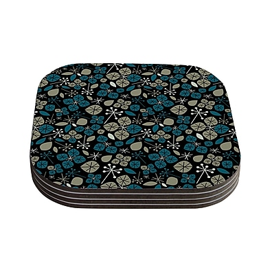 KESS InHouse Leaf Scatters Midnight by Allison Beilke Coaster (Set of 4)