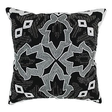 Blazing Needles Symmetrical Floral Cotton Throw Pillow; White / Black
