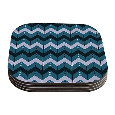 KESS InHouse Chevron Dance by Nick Atkinson Coaster (Set of 4); Blue