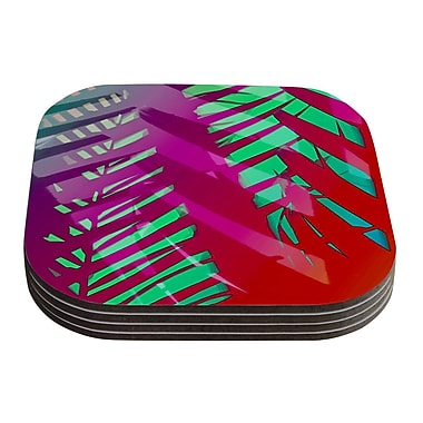 KESS InHouse Tropical by Alison Coxon Coaster (Set of 4); Red