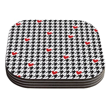KESS InHouse Spacey Houndstooth Heart by Empire Ruhl Coaster (Set of 4)