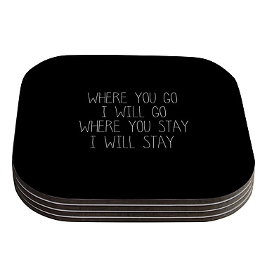 KESS InHouse Where You Go by Suzanne Carter Typography Coaster (Set of 4)