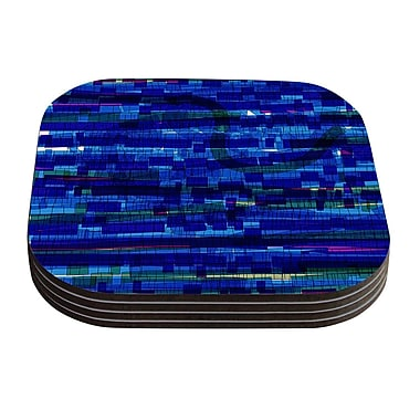 KESS InHouse Squares Traffic by Frederic Levy-Hadida Coaster (Set of 4); Blue