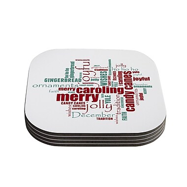 KESS InHouse Yuletide by Sylvia Cook Christmas Typography Coaster (Set of 4)