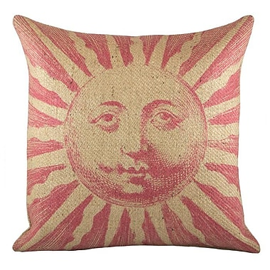 TheWatsonShop Sun Burlap Throw Pillow; Pink