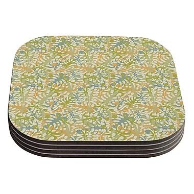 KESS InHouse Warm Tropical Leaves by Julia Grifol Green Orange Coaster (Set of 4)
