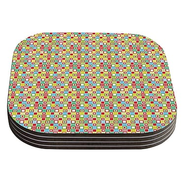 KESS InHouse Colorful Check by Julie Hamilton Checkered Coaster (Set of 4)