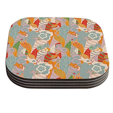 KESS InHouse Fishes Here, Fishes There II by Akwaflorell Multicolor Coaster (Set of 4)