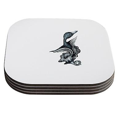 KESS InHouse Swan Horns by Graham Curran Coaster (Set of 4)