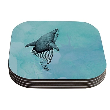 KESS InHouse Shark Record III by Graham Curran Coaster (Set of 4)