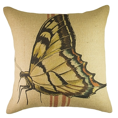 TheWatsonShop Butterfly Burlap Throw Pillow; Red / Yellow / Blue
