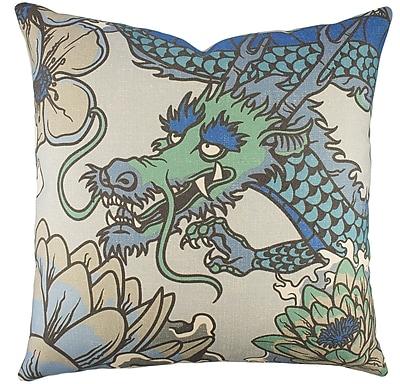 TheWatsonShop Dragon Cotton Throw Pillow; Blue