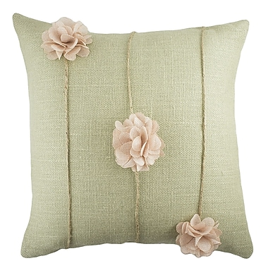 TheWatsonShop Floral Burlap Throw Pillow; Sage