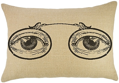 TheWatsonShop Eye Glasses Burlap Lumbar Pillow