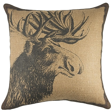TheWatsonShop Moose Burlap Throw Pillow; Copper