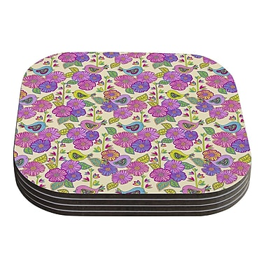 KESS InHouse My Birds and My Flowers by Julia Grifol Coaster (Set of 4)