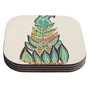 KESS InHouse Tribal Feather by Pom Graphic Design Coaster (Set of 4)