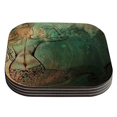 KESS InHouse Poor Mermaid by Theresa Giolzetti Coaster (Set of 4)