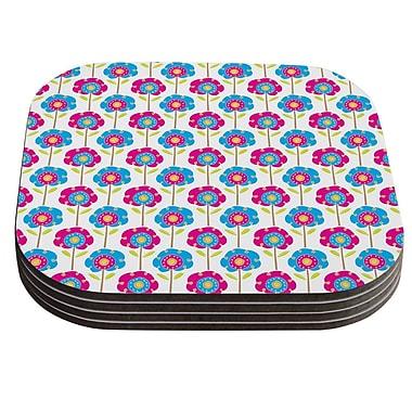 KESS InHouse Lolly Flowers by Apple Kaur Designs Coaster (Set of 4)