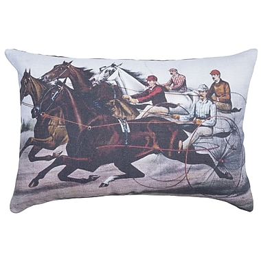 TheWatsonShop Horse Race Cotton Throw Pillow
