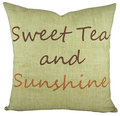 TheWatsonShop Sweet Tea and Sunshine Cotton Throw Pillow; Brown / Orange