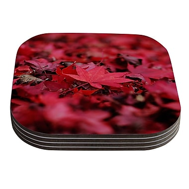 KESS InHouse Red Leaves by Angie Turner Coaster (Set of 4)