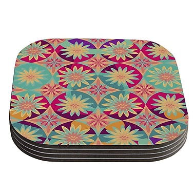 KESS InHouse Happy Flowers by Nika Martinez Floral Abstract Coaster (Set of 4)