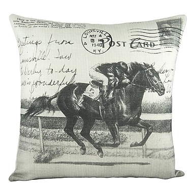 TheWatsonShop Horse Race Cotton Throw Pillow; Black