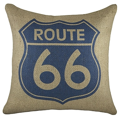 TheWatsonShop Route 66 Burlap Throw Pillow; Blue