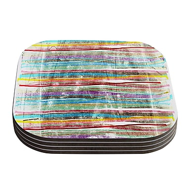 KESS InHouse Fancy Stripes by Frederic Levy-Hadida Coaster (Set of 4); Light