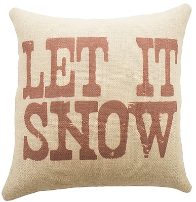 TheWatsonShop Let It Snow Burlap Throw Pillow; Red
