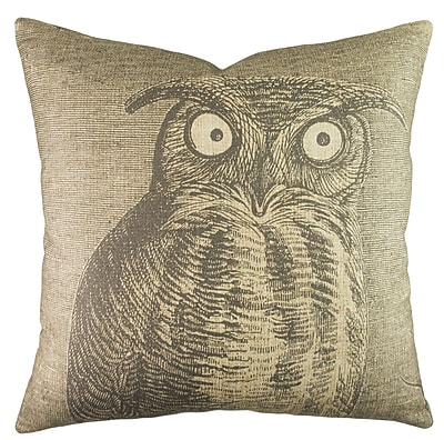 TheWatsonShop Owl Cotton Throw Pillow; Gray