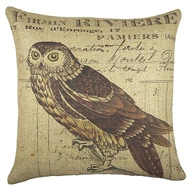 TheWatsonShop Owl Burlap Throw Pillow