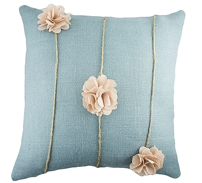 TheWatsonShop Floral Burlap Throw Pillow; Blue