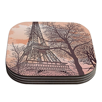 KESS InHouse Eiffel Tower by Sam Posnick Coaster (Set of 4)