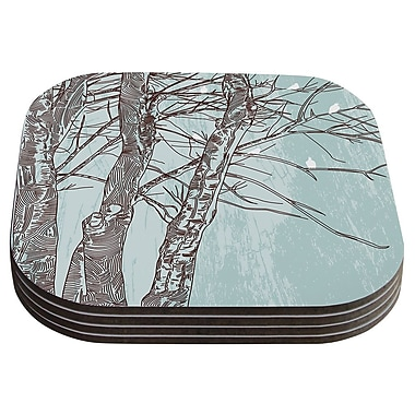 KESS InHouse Winter Trees by Sam Posnick Coaster (Set of 4)