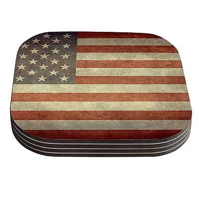 KESS InHouse Flag of US Retro by Bruce Stanfield Rustic Coaster (Set of 4)