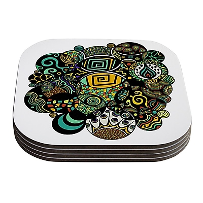 KESS InHouse Multicolor Life by Pom Graphic Design Coaster (Set of 4)