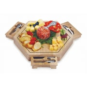 Picnic Plus by Spectrum Bergamo Wooden Cheese Board w/ 4 Cheese Knives
