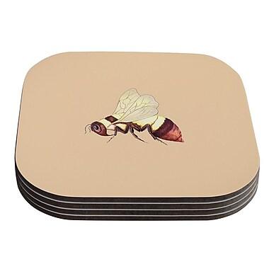 KESS InHouse Bee Happy by Catherine Holcombe Coaster (Set of 4)