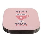 KESS InHouse My Cup of Tea Daisy Beatrice Coaster (Set of 4)