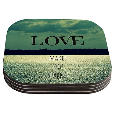 KESS InHouse Love Makes You Sparkle by Robin Dickinson Coaster (Set of 4)