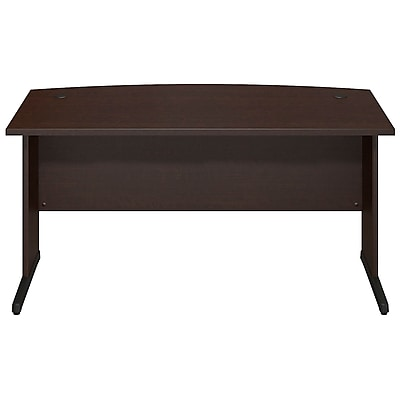Bush Business Westfield Elite 60W x 36D C-Leg Bow Front Desk, Mocha Cherry, Installed